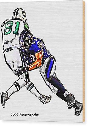 Baltimore Ravens  Ray Lewis - New York Jets Dustin Keller Wood Print by Jack K
