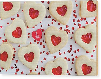 Wood Print featuring the photograph Be Mine Heart Cookies by Teri Virbickis