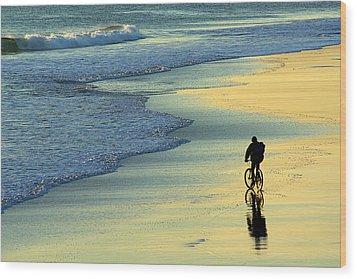 Beach Biker Wood Print by Carlos Caetano