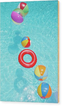 Beachballs Wood Print by Alex Bramwell