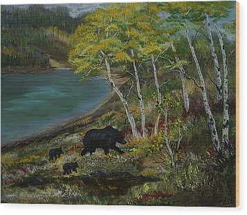 Bear Country Wood Print by Leslie Allen