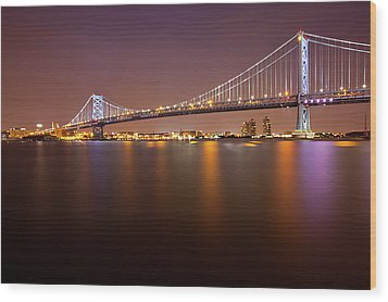 Ben Franklin Bridge Wood Print by Richard Williams Photography