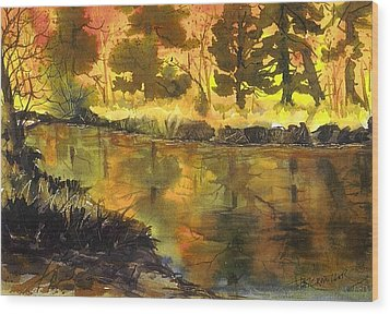 Bishop Creek Autumn Wood Print by Pat Crowther