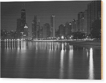 Black And White Chicago Skyline At Night Wood Print by Sven Brogren