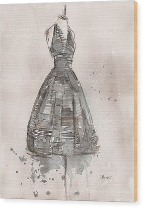 Black And White Striped Dress Wood Print by Lauren Maurer