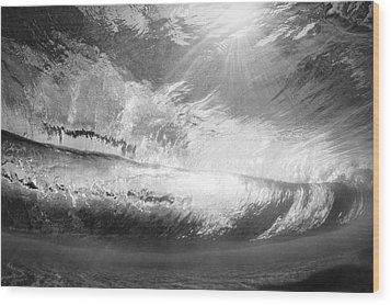 Black And White View Under Wave Wood Print by MakenaStockMedia - Printscapes