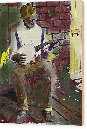 Black Banjo Man Wood Print