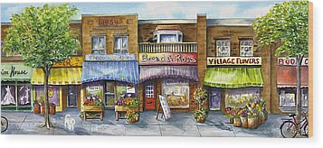 Wood Print featuring the painting Bloorwest Village  by Margit Sampogna