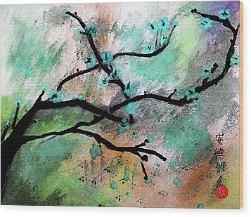 Blue Blossom Wood Print by Andrea Realpe