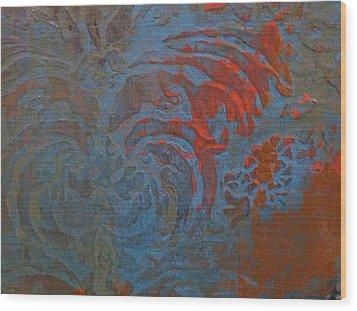 Blue Damask Inlay Wood Print