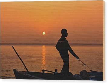 Wood Print featuring the photograph Boatsman On The Ganges by Stefan Nielsen