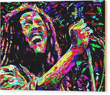 Bob Marley Wood Print by Mike OBrien