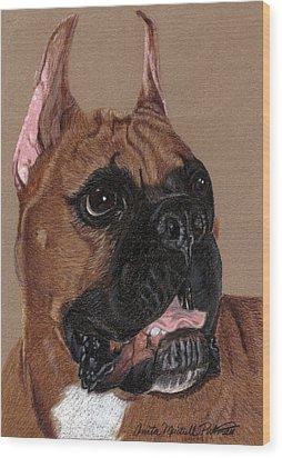 Boxer Vignette Wood Print by Anita Putman