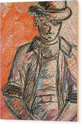 Wood Print featuring the painting Boy In Red by Cathie Richardson