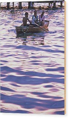 Boys On Boat Wood Print