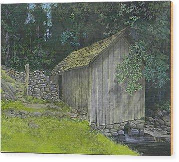 Brinegar Cabin Springhouse Wood Print