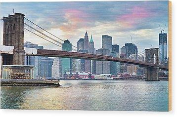 Brooklyn Bridge Restoration Wood Print by Ryan D. Budhu