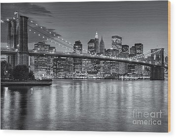 Brooklyn Bridge Twilight II Wood Print