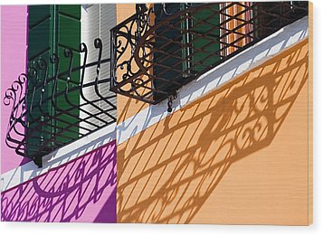 Burano Houses Wood Print
