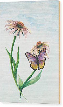 Butterfly Dance Wood Print by Deborah Ellingwood
