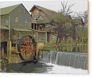 Wood Print featuring the photograph By The Old Mill Stream by Larry Bishop