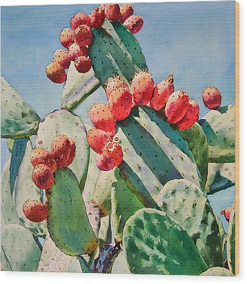 Cactus Apples Wood Print by Kathleen Ballard