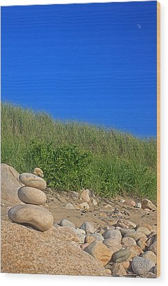 Cairn Dunes And Moon Wood Print