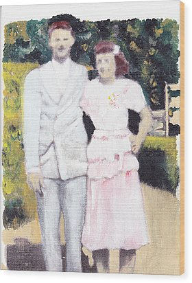 Caits Mom And Dad Wood Print by David Poyant
