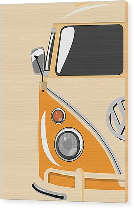 Camper Orange Wood Print by Michael Tompsett