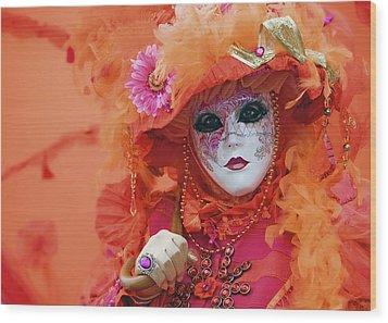 Carnival In Orange Wood Print