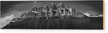 Castle Mountain Panoramic Wood Print by Brent Mooers
