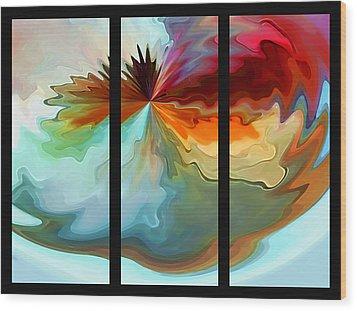 Center Piece 'triptych' Wood Print by Terril Heilman