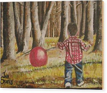 Chasing That Big Red Ball Wood Print
