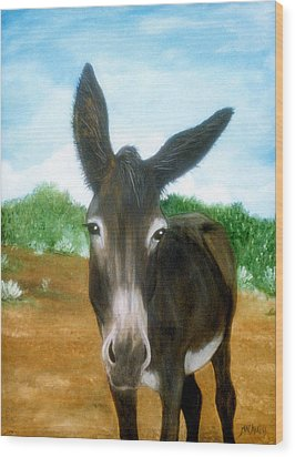 Wood Print featuring the painting Chimayo Mule by Jan Amiss