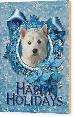 Christmas - Blue Snowflakes West Highland Terrier Wood Print by Renae Laughner