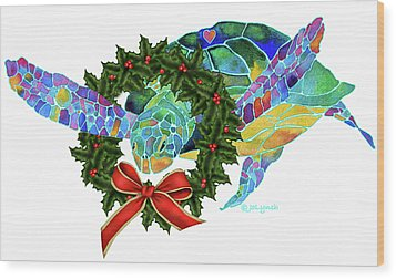 Christmas Holiday Sea Turtle Wood Print by Jo Lynch