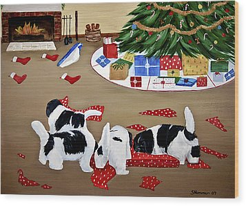 Christmas Mischief Wood Print by Sharon Nummer