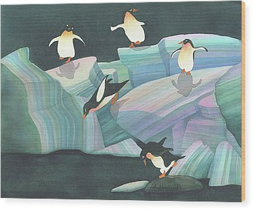 Christmas Penguins Wood Print by Anne Havard