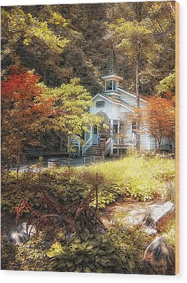 Church In The Woods Wood Print by Gina Cormier