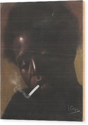 Cigarette Smoker Wood Print by L Cooper