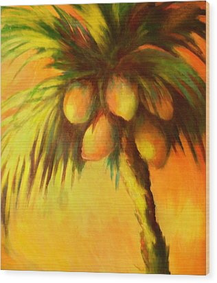 Coconuts At Sunrise Wood Print by Joann Shular