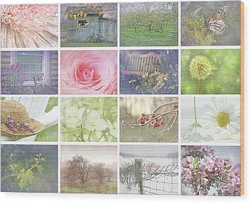 Collage Of Seasonal Images With Vintage Look Wood Print by Sandra Cunningham