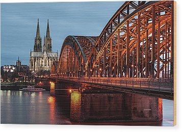 Cologne Cathedral At Dusk Wood Print by Vulture Labs
