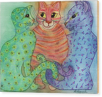 Colorful Cats Wood Print by Anne Havard