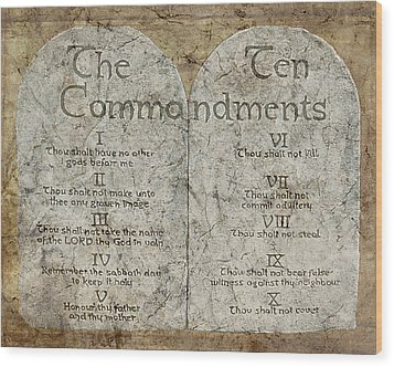 Commandments Wood Print by Cindy Wright