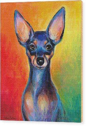 Contemporary Colorful Chihuahua Chiuaua Painting Wood Print by Svetlana Novikova