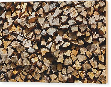 Cord Wood Texture Wood Print by Charles Lupica