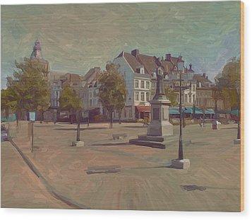 Corner Bosch Street And Market Maastricht Wood Print by Nop Briex
