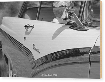 Creative Chrome - 1956 Ford Fairlane Victoria Wood Print by Betty Northcutt