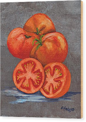 Creole Tomatoes Wood Print by Elaine Hodges